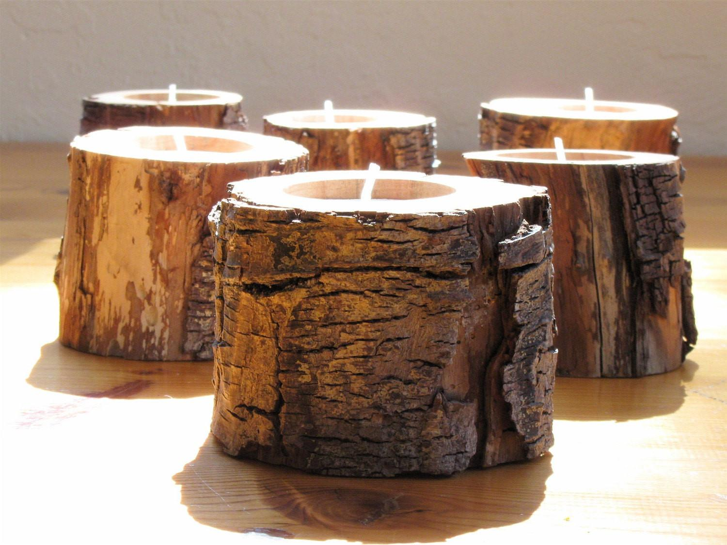 Woodland Driftwood Candle Holders Eco Friendly Home Decor