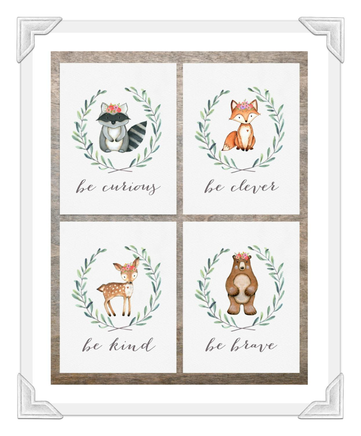Woodland Nursery Prints Baby Girl