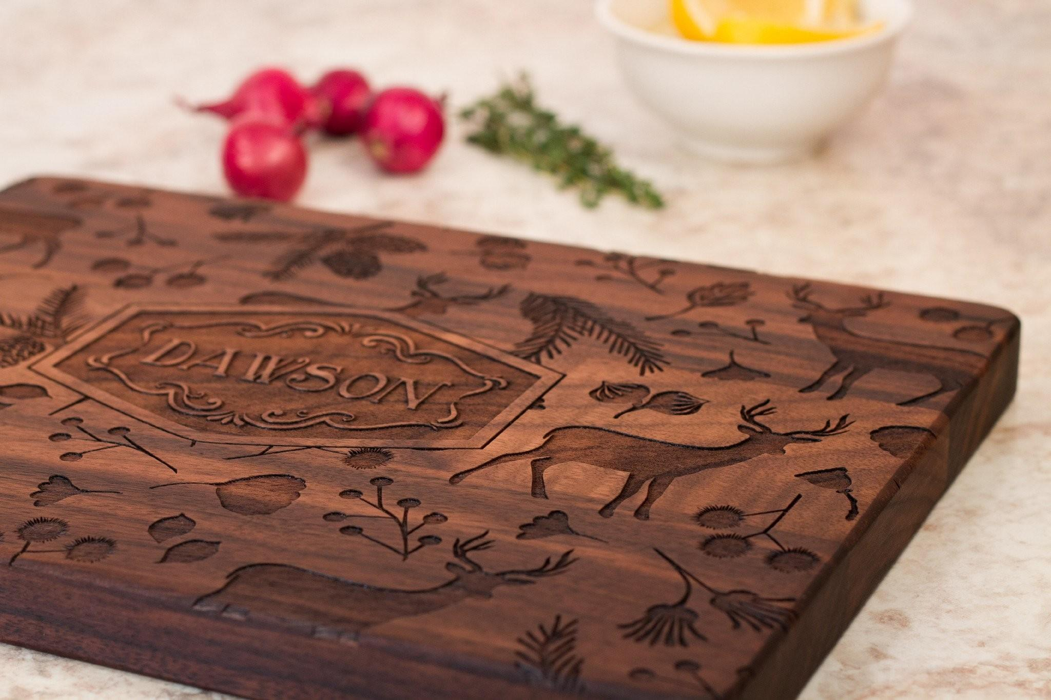 Woodland Personalized Cutting Board Smiling Tree