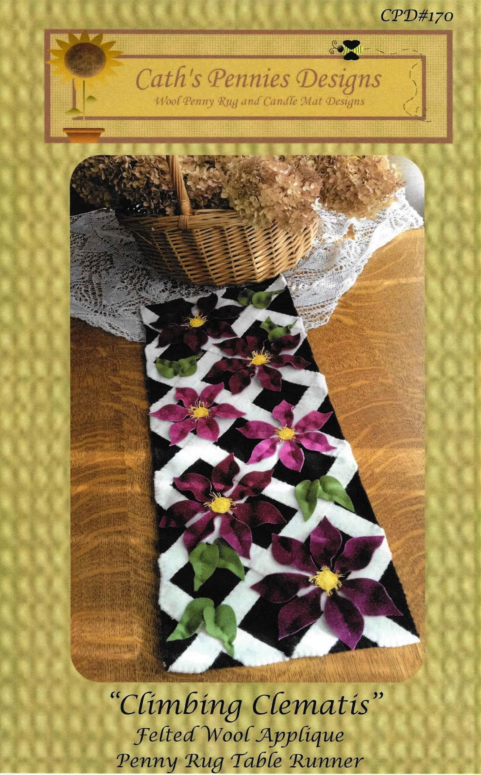 Wool Applique Pattern Climbing Clematis Table