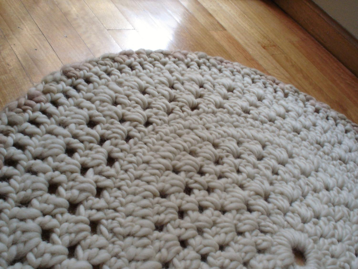 Wool Rug Area Crochet Knit Round