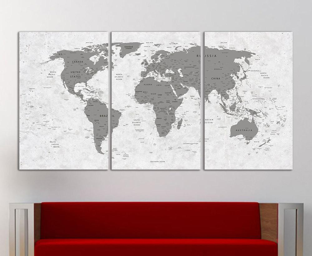 World Map Canvas Print Wall Art Push Pin Decor