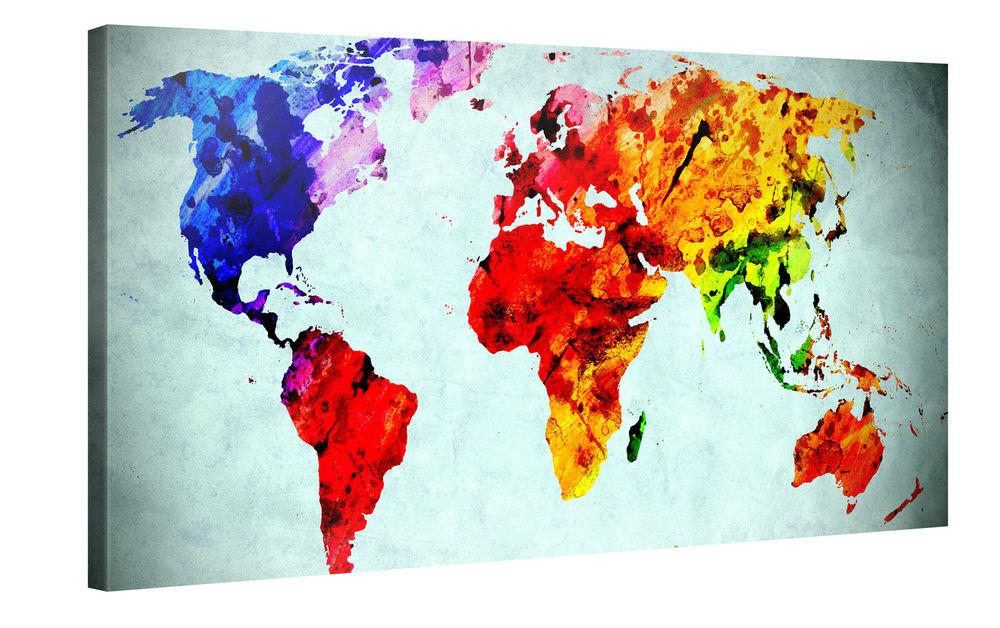 World Map Watercolor Abstract Modern Art Large