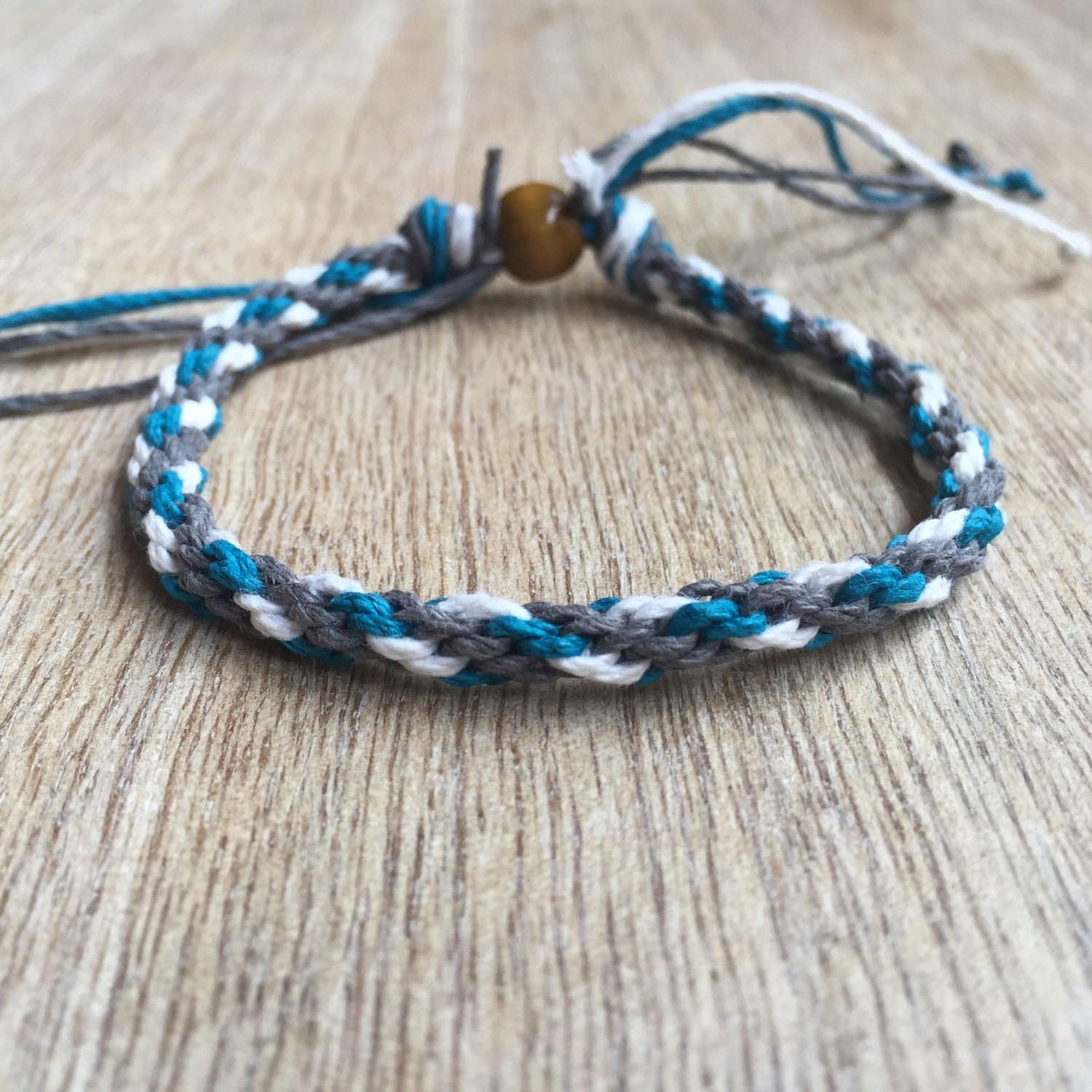 Woven Anklet White Grey Teal Kumihimo Hemp