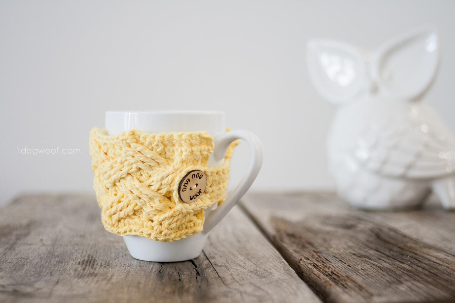 Woven Cables Mug Cozy One Dog Woof Crochet Pattern