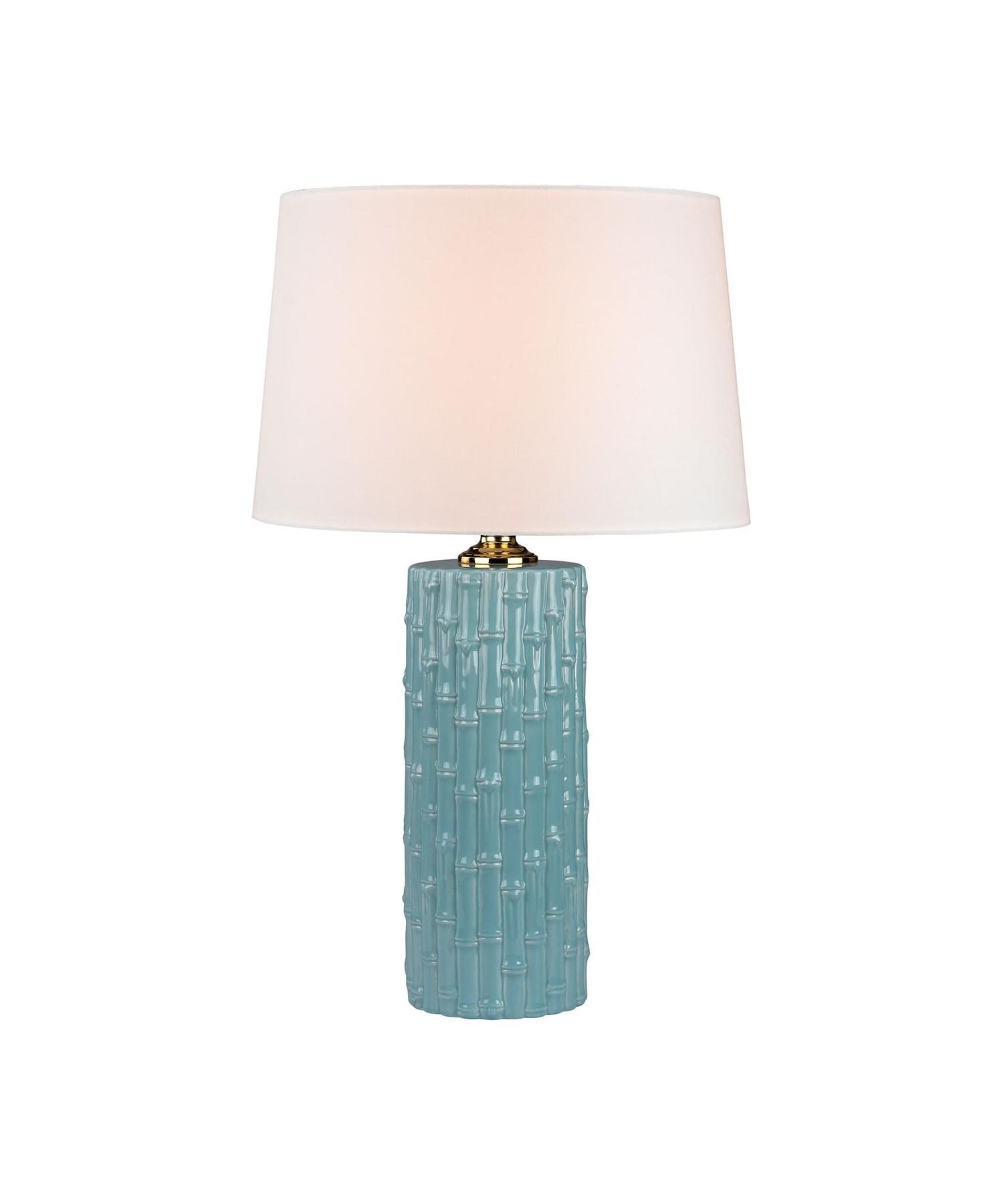 Woven Ceramic Table Lamp White Wood Tone 218