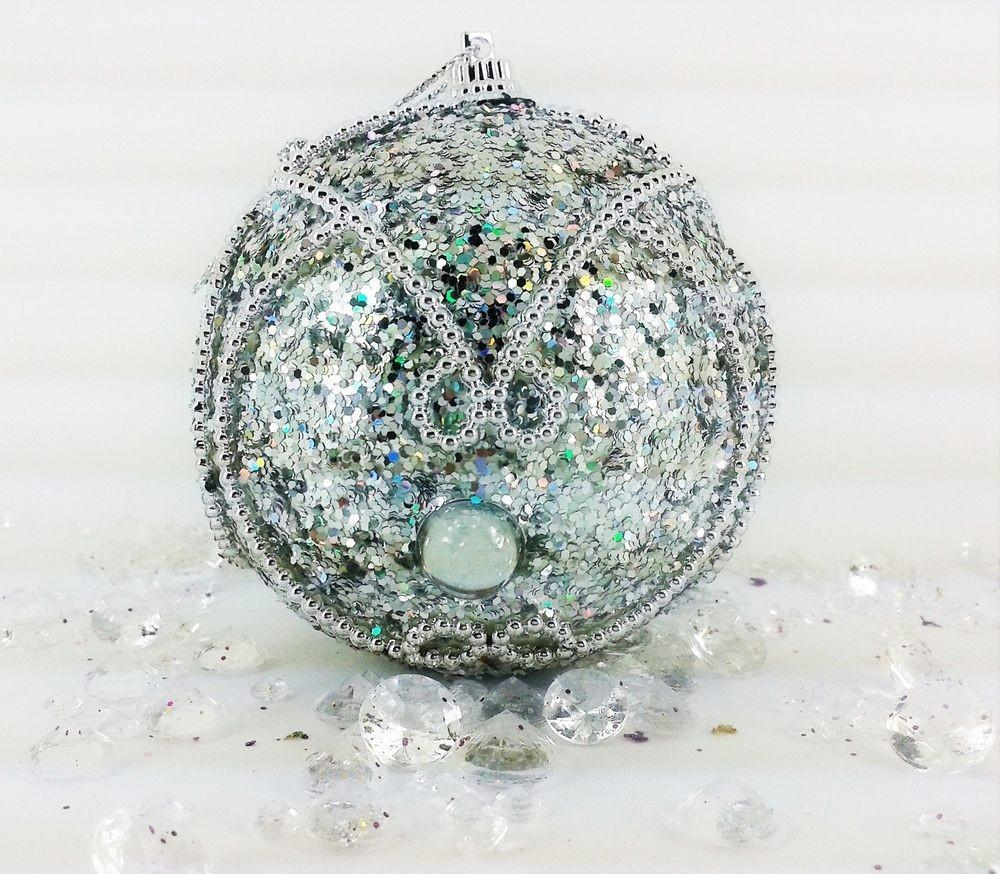 Xmas Christmas Tree Decorations Ornaments Baubles Silver
