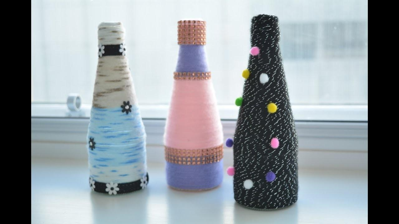 Yarn Wrapped Bottle Craft Diy Flower Vase Glass