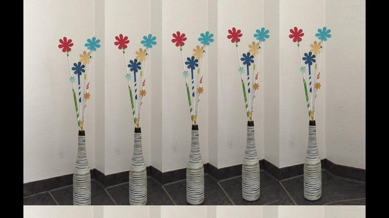 Yarn Wrapped Bottle Vase Paper Flowers Diy Crafts