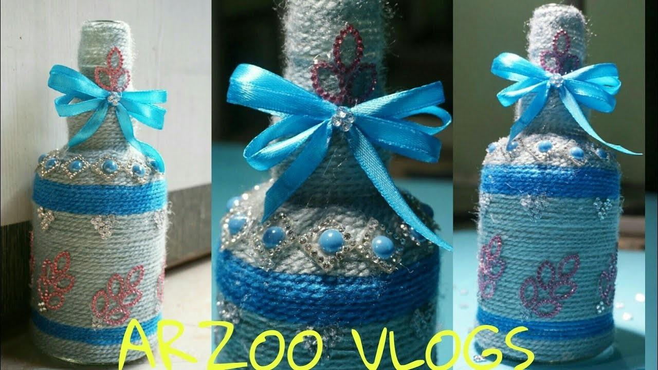 Yarn Wrapped Glass Bottle Craft Kids Diy Flower