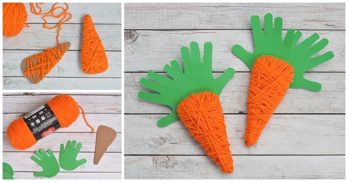 Yarn Wrapped Handprint Carrot Craft Kids Heart