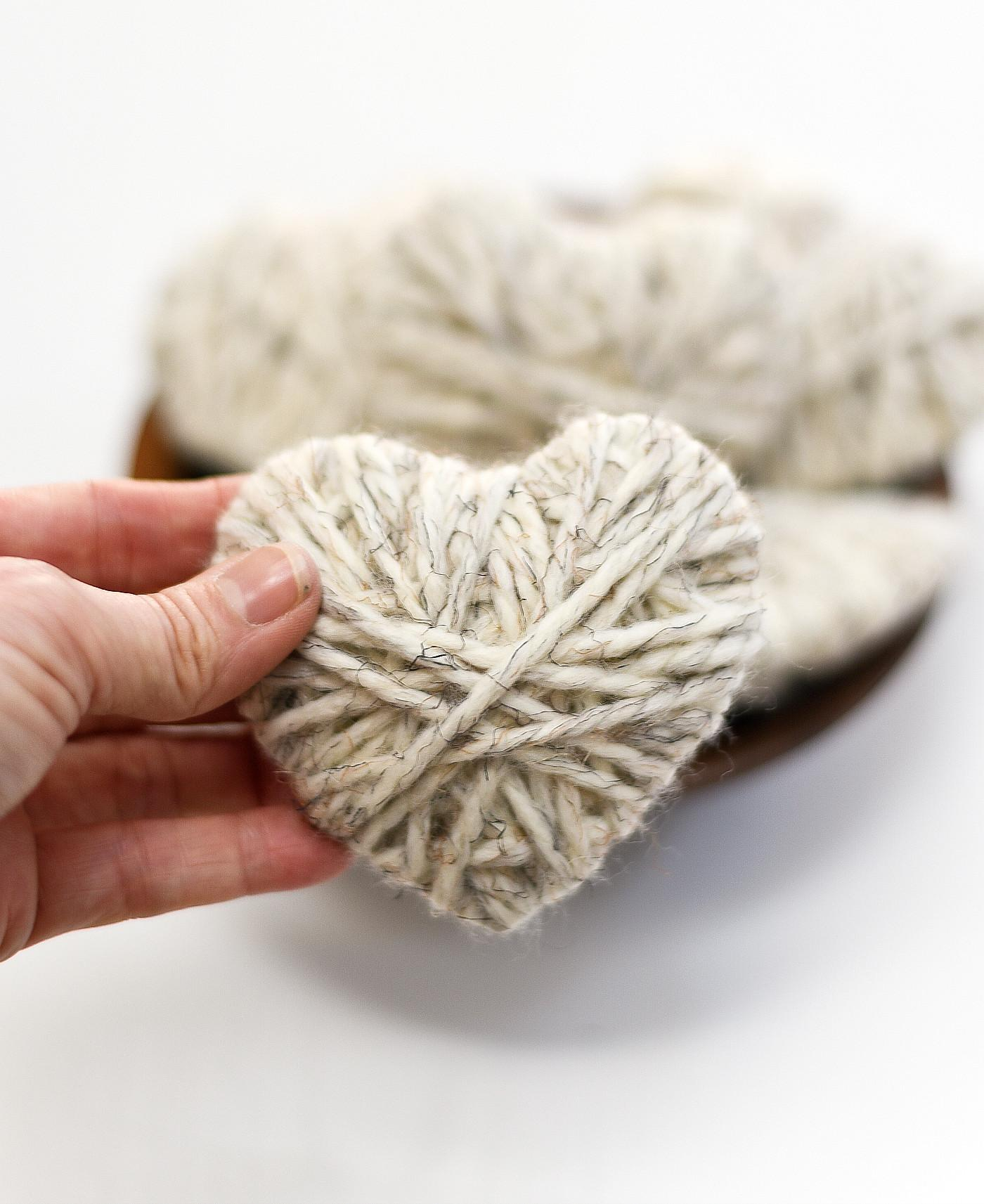 Yarn Wrapped Hearts All Started Paint