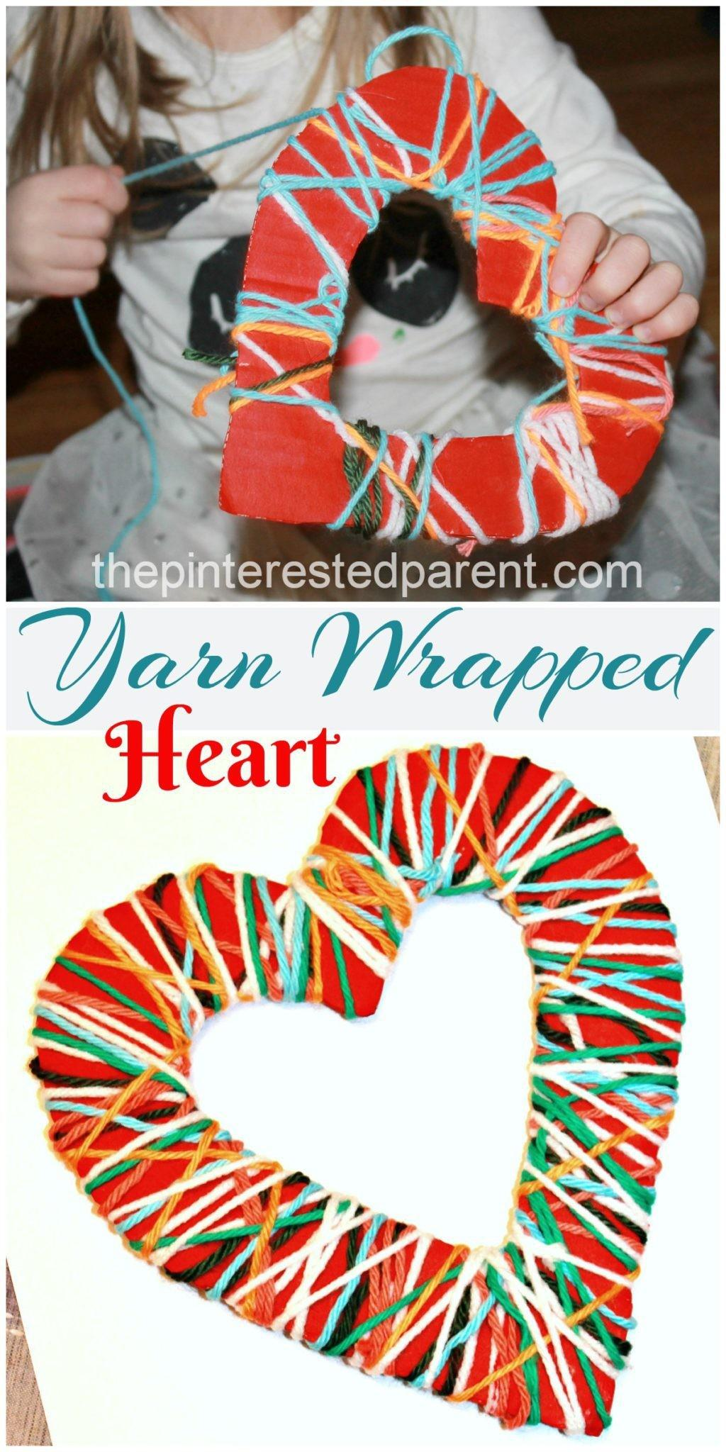 Yarn Wrapped Hearts Pinterested Parent