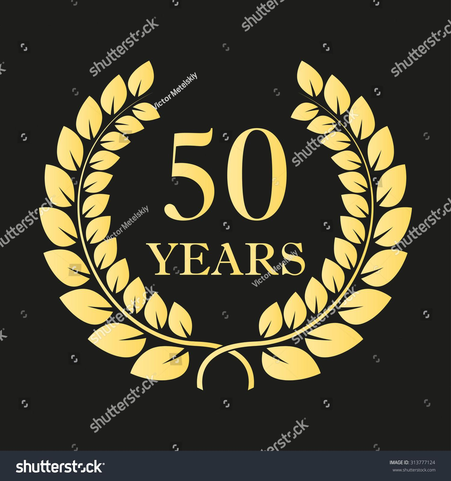 Years Anniversary Laurel Wreath Icon Sign Template