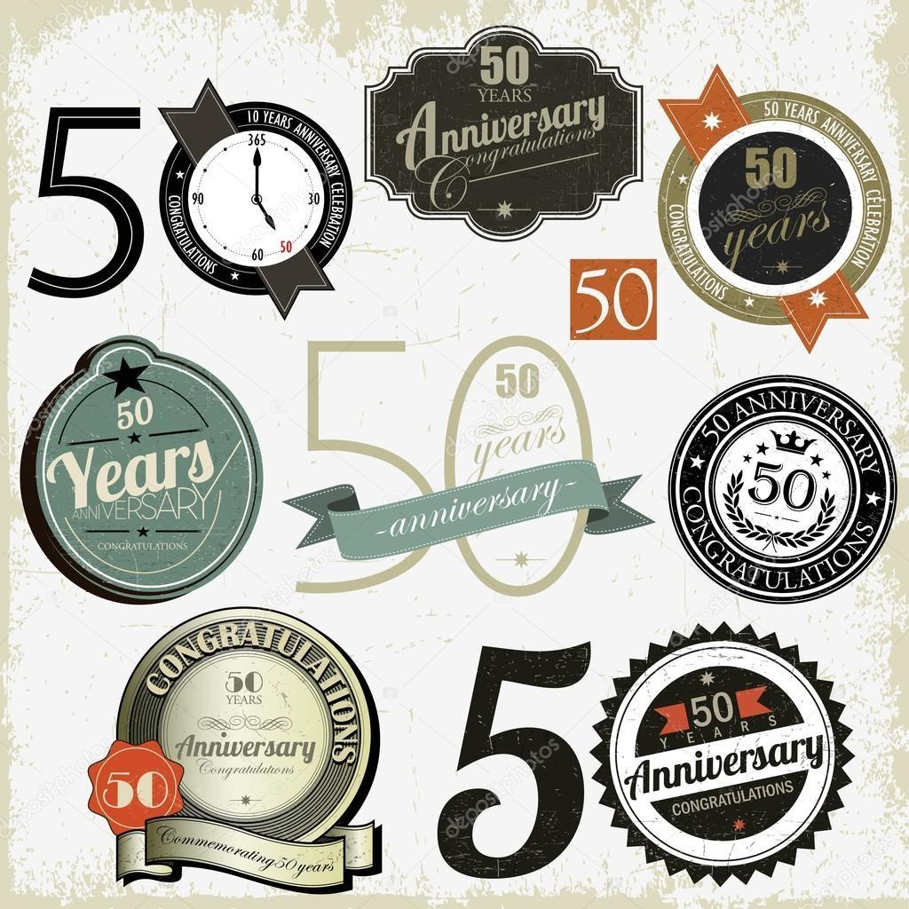 Years Anniversary Signs Cards Vector Design Stock