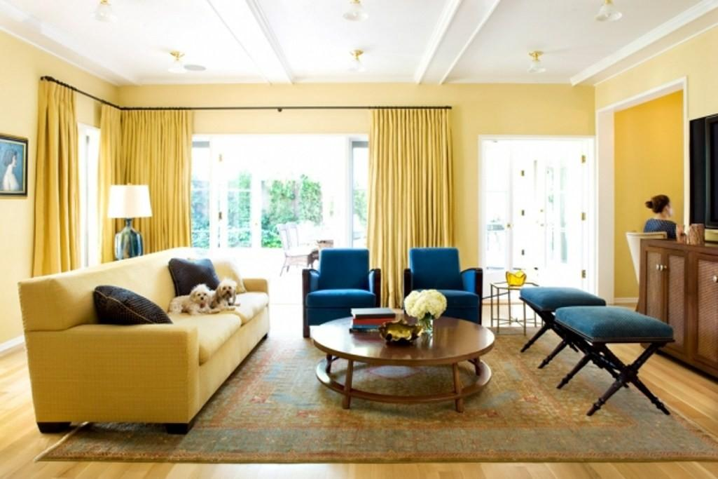 Yellow Blue Charming Interior Living Room Home
