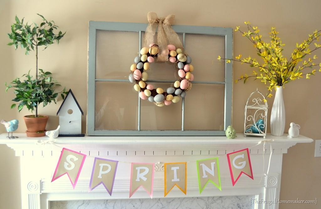 Yellow Blue Spring Easter Mantel
