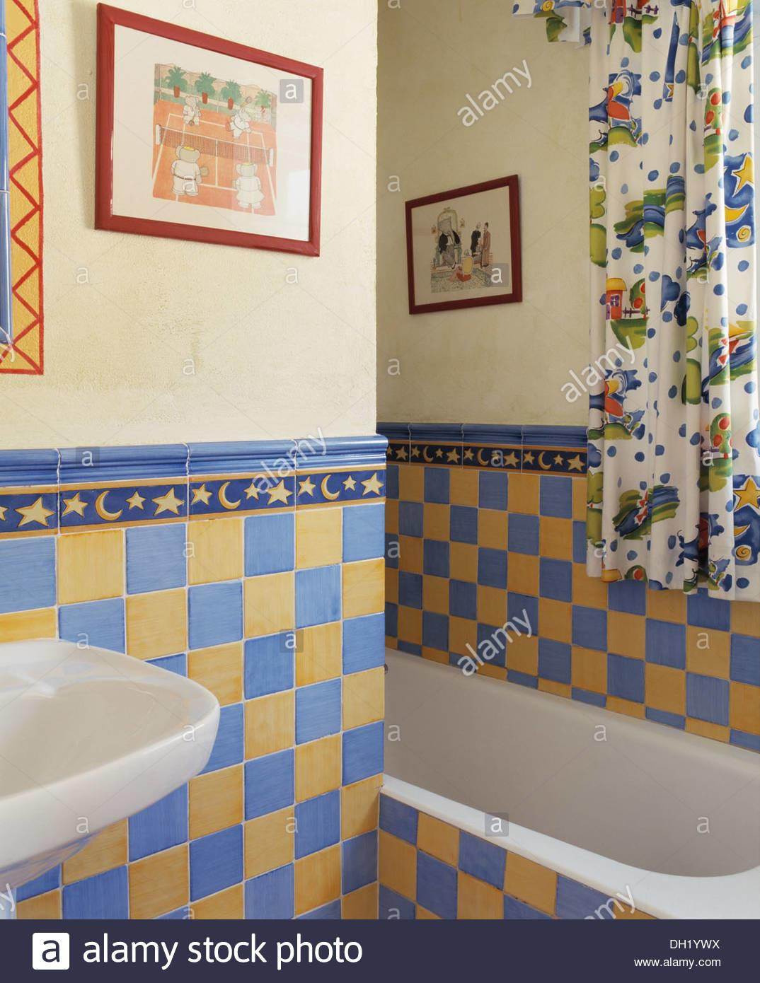 Yellow Blue Wall Tiles Small Spanish Country