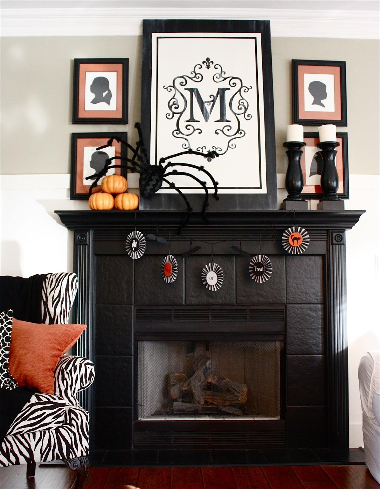 Yellow Cape Cod Halloween Mantel Mantle