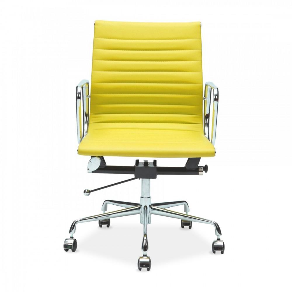 Yellow Eames Style Ribbed Short Back Office Chair