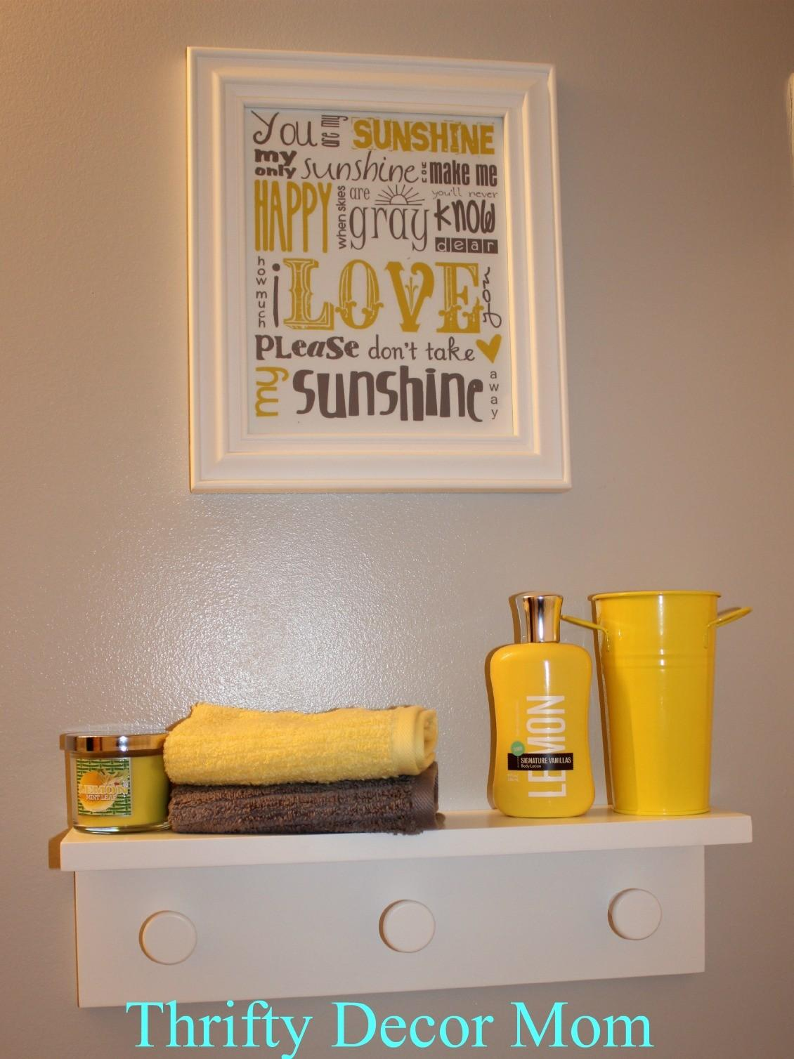 Yellow Grey Bathroom Decor