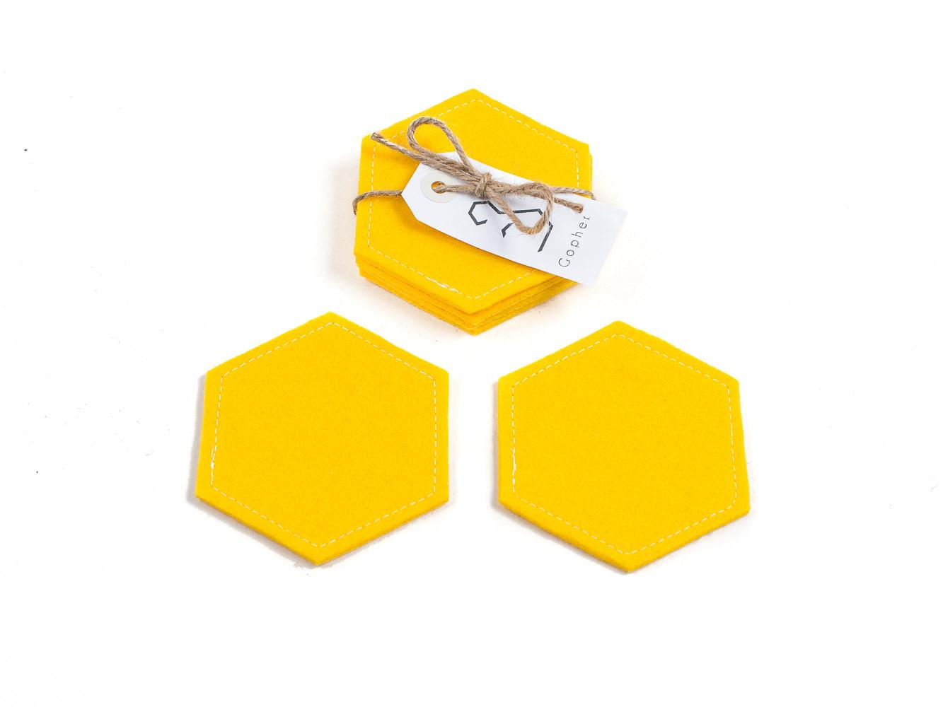 Yellow Hexagon Coasters Felt Drink Gopher