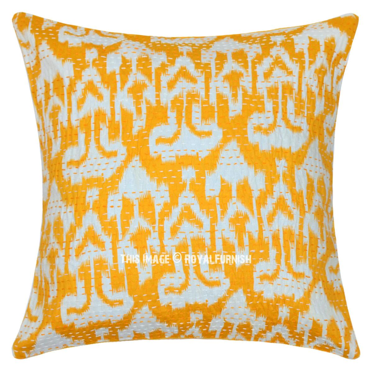 Yellow Multicolor Ikat Kantha Decorative Cotton Pillow