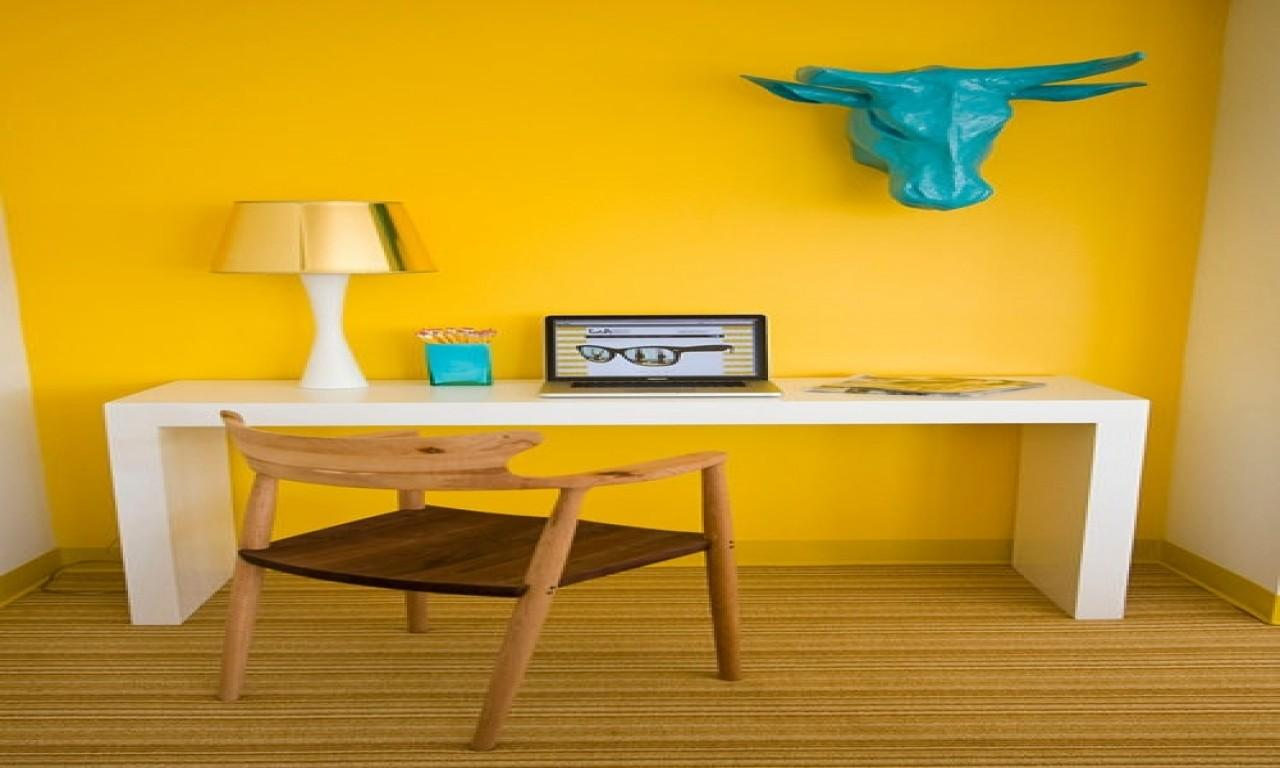 Yellow Office White Deskhome Color Scheme Ideas