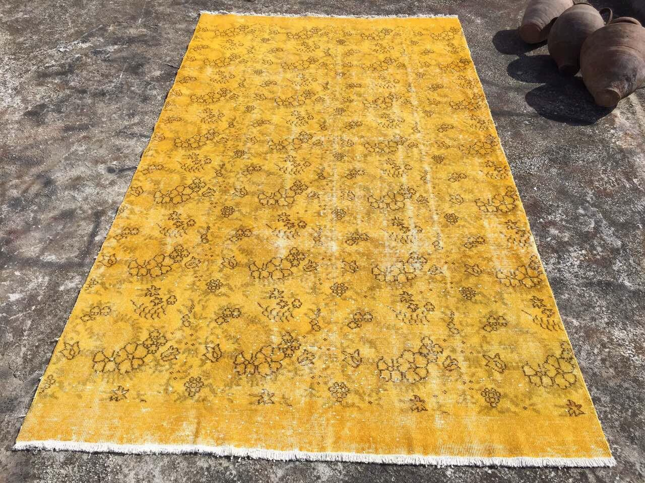 Yellow Over Dyed Rug Mustard Area Vintage Hand Knotted