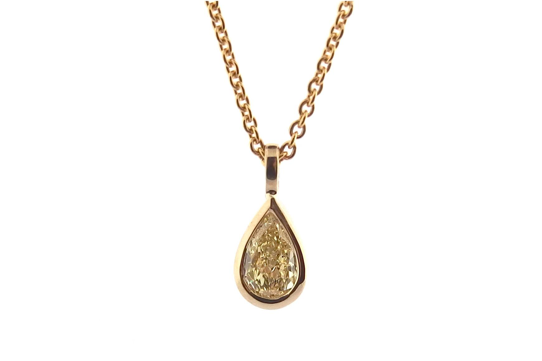 Yellow Pear Shape Diamond Pendant Bezel Set Browse
