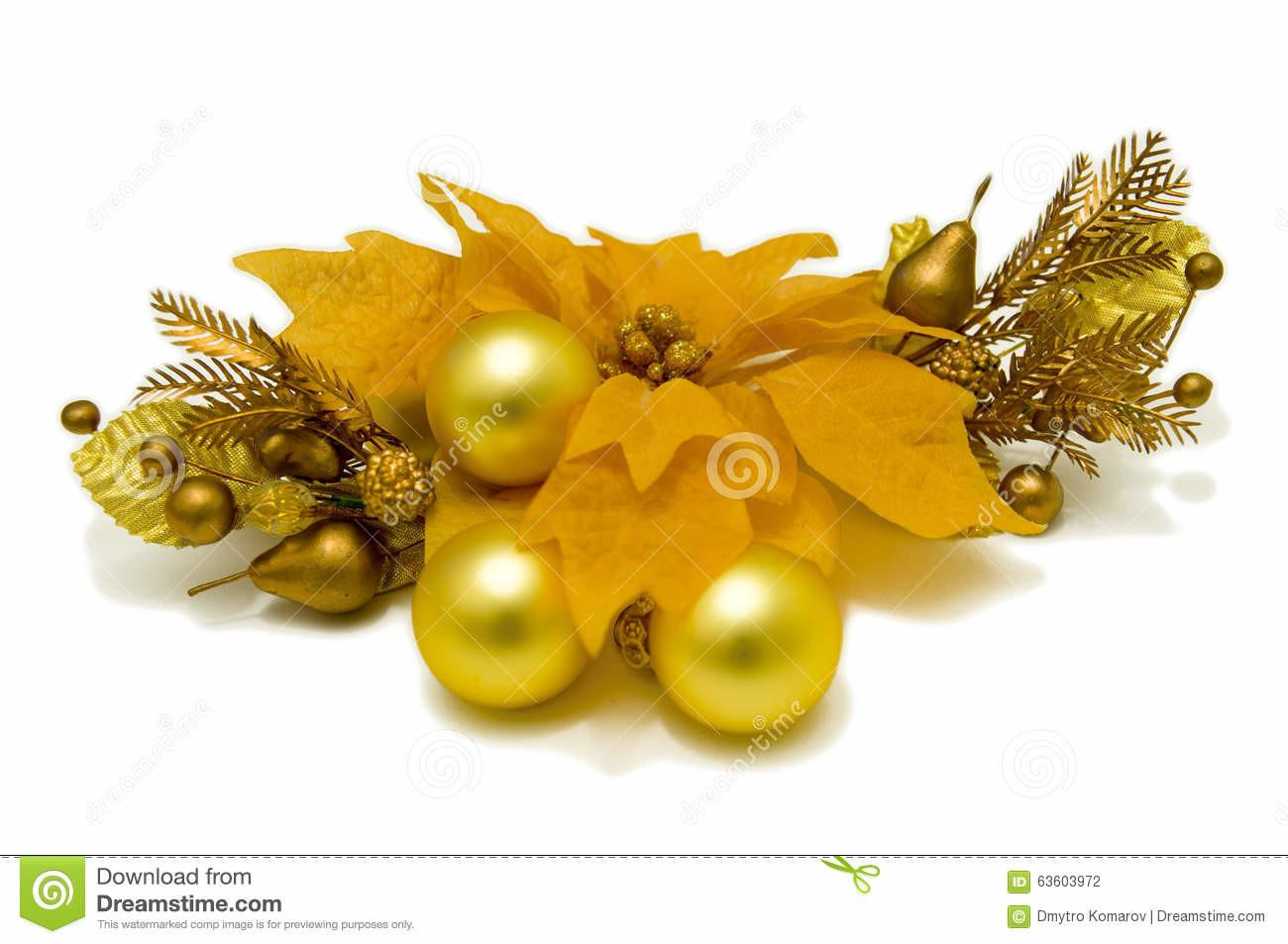 Yellow Poinsettia Flower Christmas Tree Decorations Front