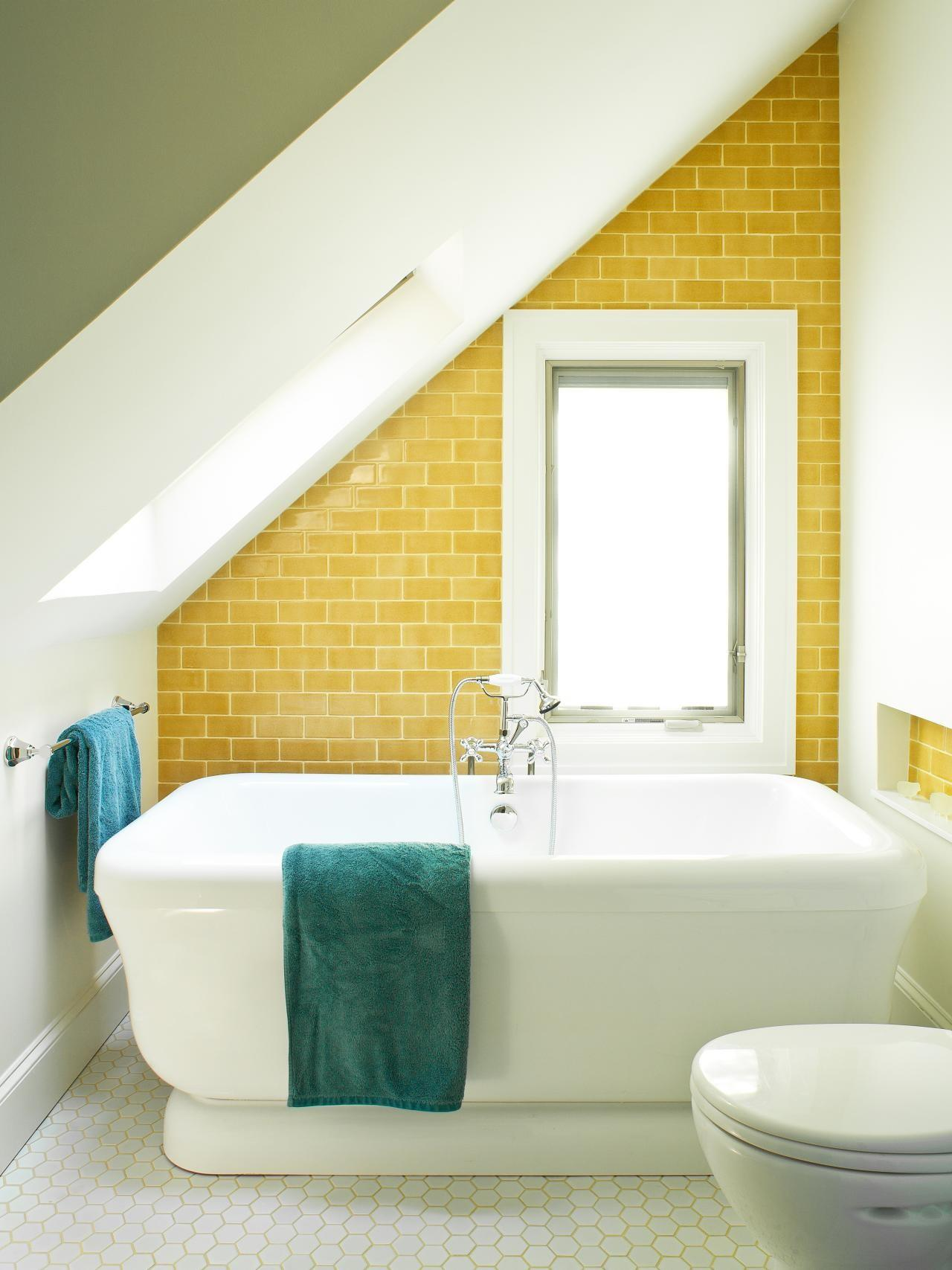 Yellow Tile Bathroom Decorating Ideas Wall Decal
