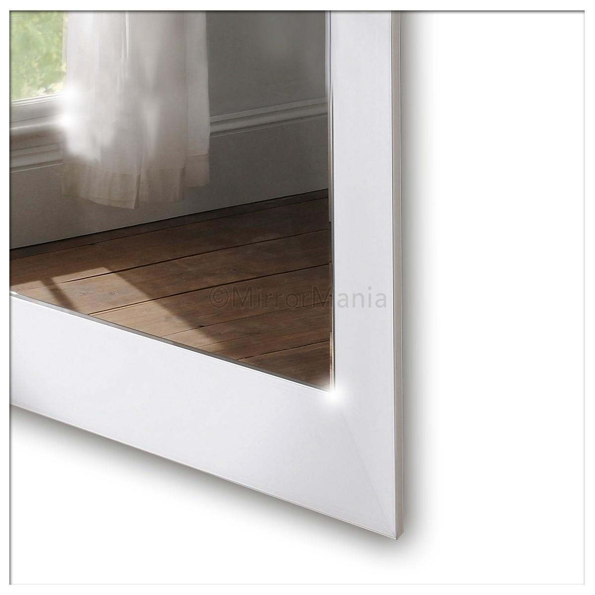 Zeus Modern Bevelled Wall Mirror White Glass