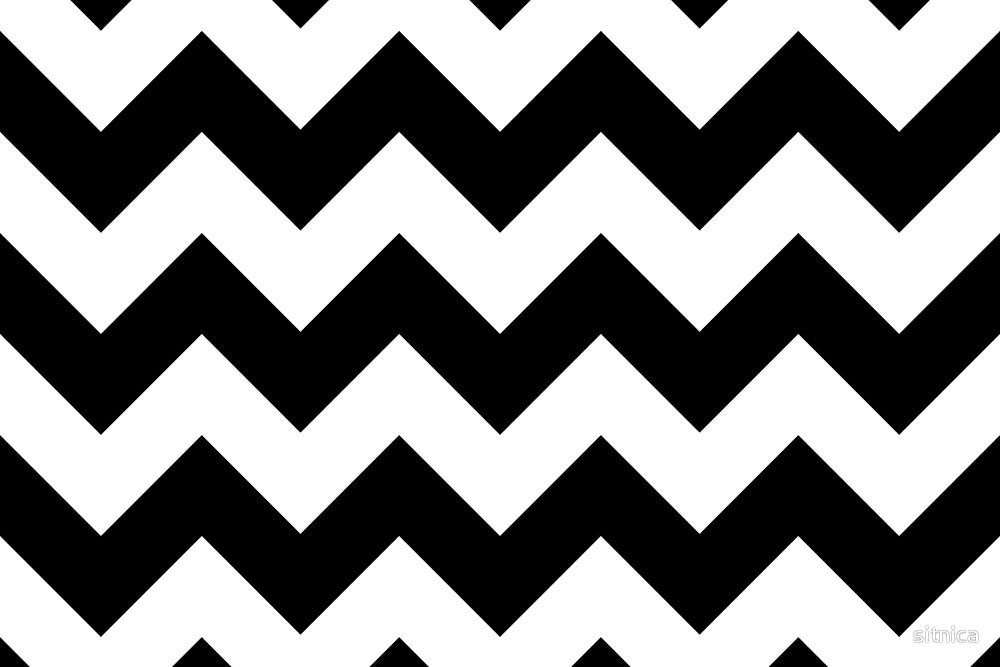Zigzag Pattern Chevron White Black Sitnica