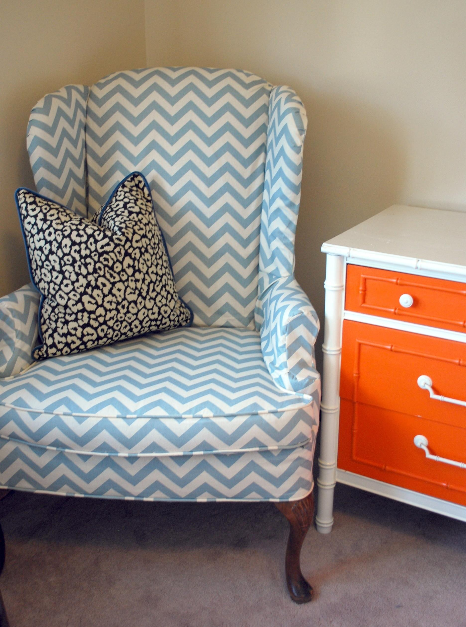 Zigzag Striped Wingback Chair Slipcover 100