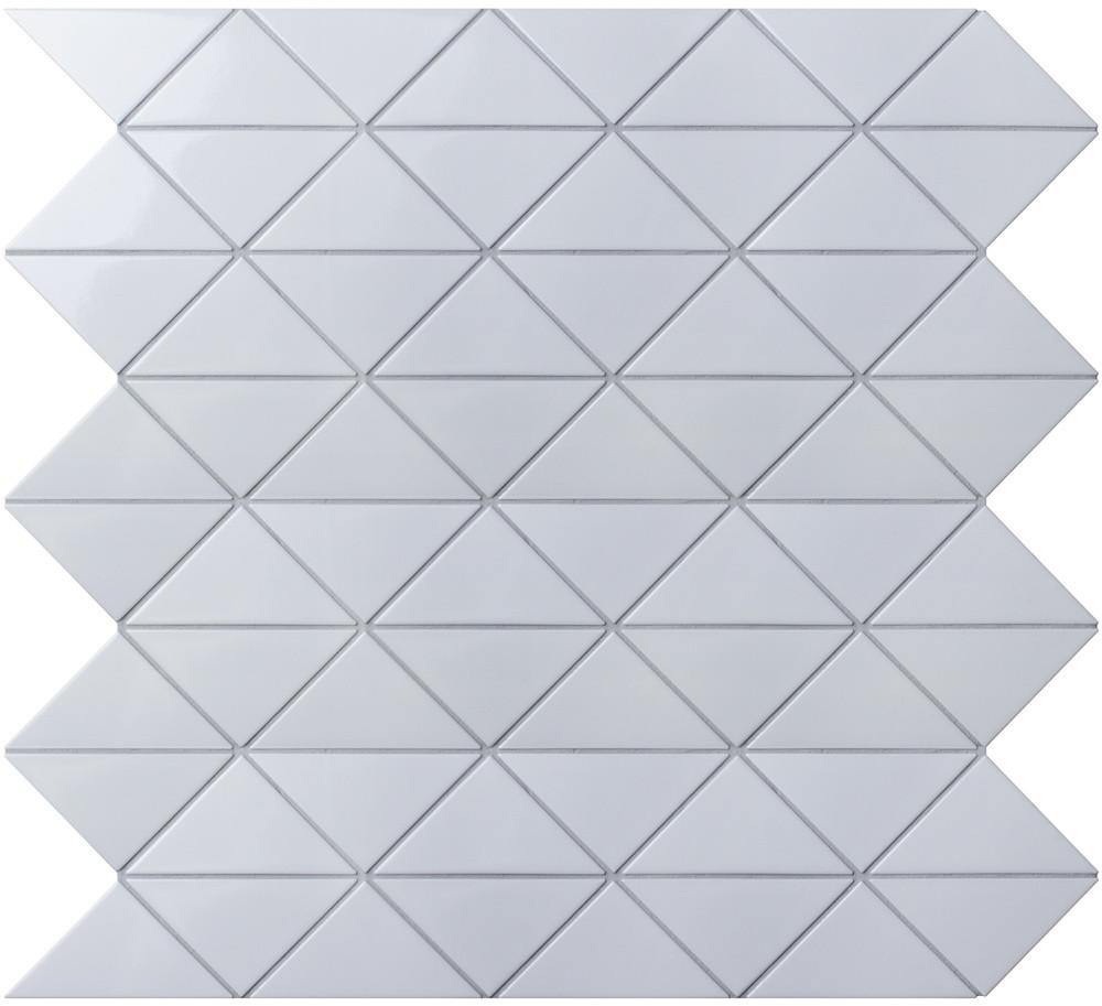 Zip Connection Glossy White Triangle Tile Wall