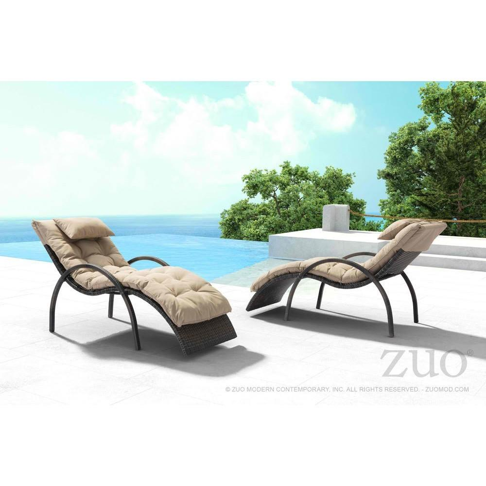 Zuo Vive Eggertz Beach Chaise Lounge Brown Beige